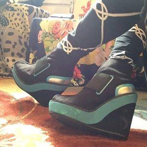 💲5️⃣Isabel Toledo 70's Style Ankle Wedge Boots 6